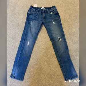 Forever 21 light blue faded ripped jeans